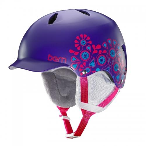 Snowboardová helma Bern Bandita Satin purple floral - AKCE1