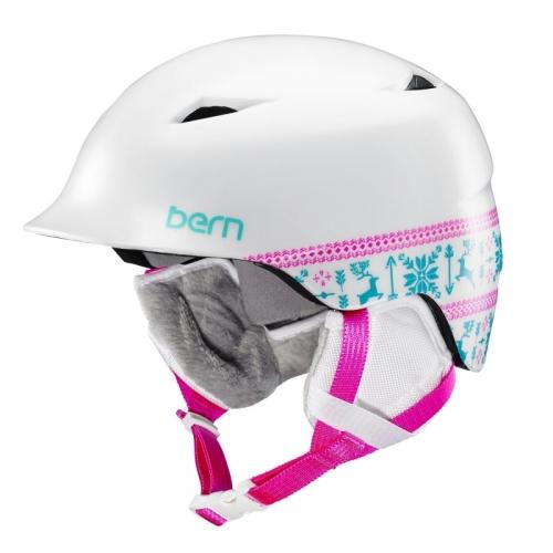 Dívčí helma Bern Camina satin white fair isle1