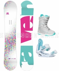 Dívčí snowboard komplet Raven Pearl white 2017