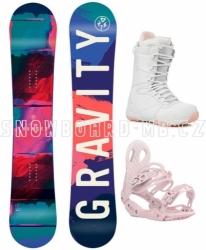 Dámský snb komplet Gravity Thunder, barevný snowboard a bílé boty