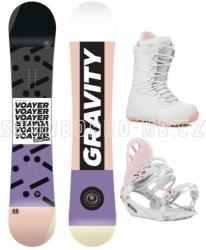 Dámský snowboardový set Gravity Voayer s bílo-růžovými botami